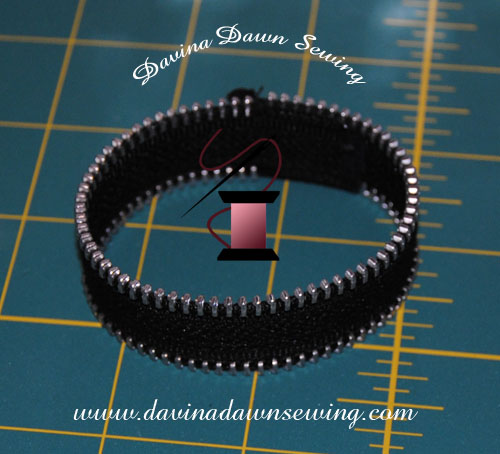 Creating a zippered bracelet out of a remnant zipper piece By Laura D. Field of Davina Dawn Sewing Specialties http://www.davinadawnsewing.com