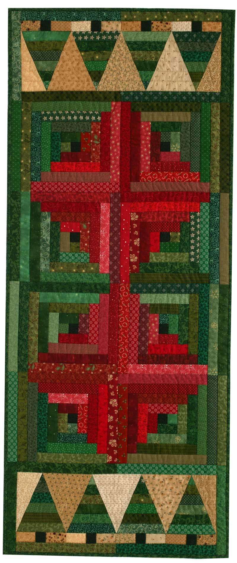 www.QuiltersNewsletter.com o Christmas Table Runner:  Christmas in the Cabin - by Jen Daly