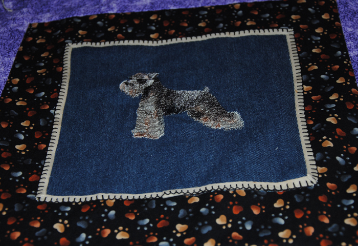The square showing the schnauzer, blocked with puppy prints