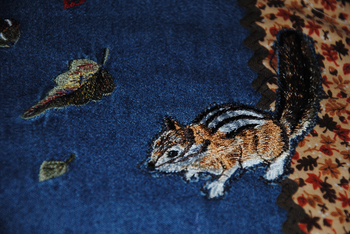 A close-up of the cute little chipmunk that I embroidered then later appliques to the quilt.