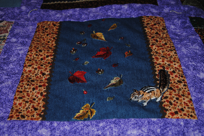 My mother'n law loved the fall, this denim section is actually a piece from one of her shirts.  The little chipmunk is an embroidered piece I made then appliqued on.
