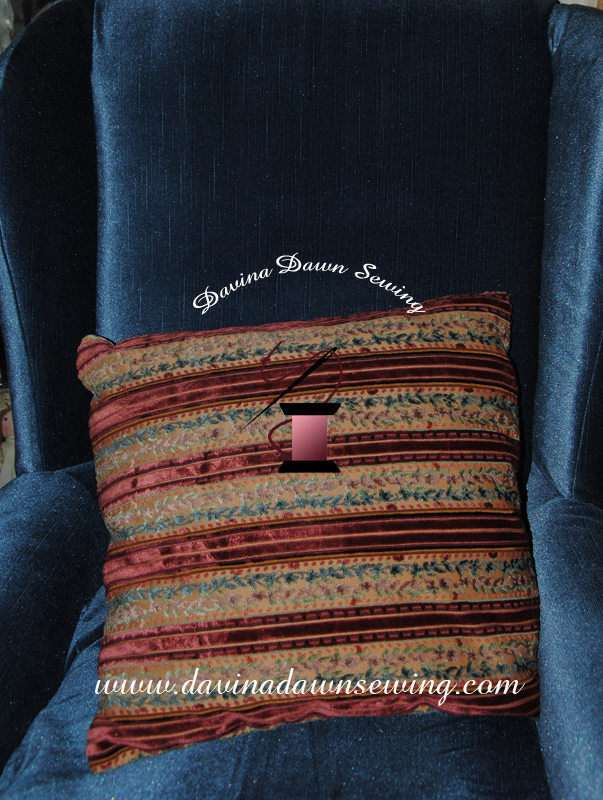 Cushion displayed in our chair that we finished reupholstering yesterday. Seams to Me - Davina Dawn Sewing Specialties