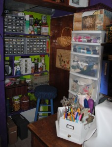 A step back showing the corner as well as the large desk area where my embroidery machine resides.